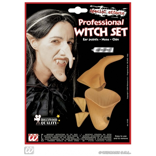 WITCH SET PROF (ears nose chin) Costume for Halloween Oz Eastwick Fancy Dress Outfit