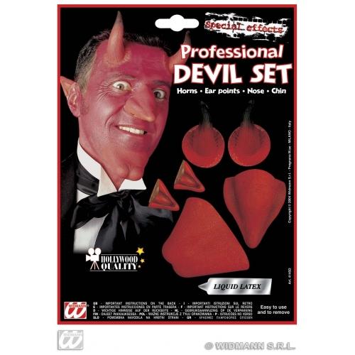 DEVIL SET (chin,nose, horns, ear points) Costume for Satan Lucifer Demon Antichrist Halloween Fancy Dress Outfit