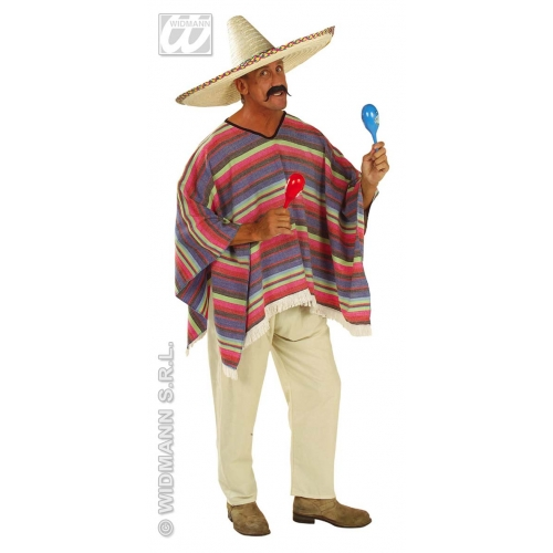 Mens MEXICAN PONCHO Accessory for Hispanic Wild West Cowboy Bandit Fancy Dress 1Size Adults Male