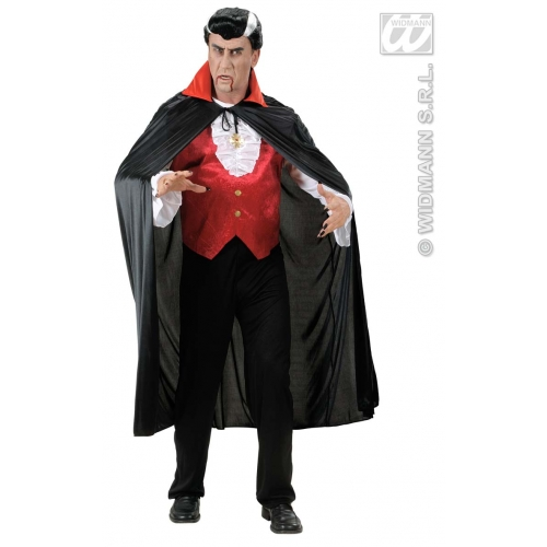 Adult Unisex BLACK CAPE W/RED COLLAR SIZE Accessory for Superhero Villian Super Hero Fancy Dress Unisex Mens