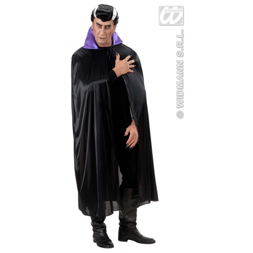 ADULT SIZE Adult Unisex BLACK CAPE W/PURPLE COLLAR Accessory for Superhero Villian Super Hero Fancy Dress Unisex Mens