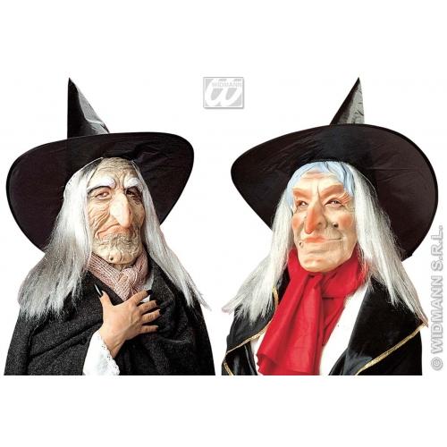 WITCH MASK W/HAT & HAIR Accessory for Halloween Oz Eastwick Fancy Dress