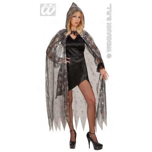 HOODED SPIDERWEB CAPE Decoration for Spider Halloween Witch Party