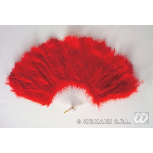 RED MAID FEATHER FAN Accessory for House Cleaner French Vicar & Tarts Fancy Dress