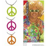 1 HIPPIE NECKLACE NEON **green/pink/orange for Hippy 60s 70s Mod Retro Vintage Classic Accessory