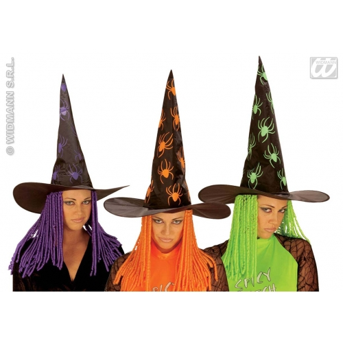 WITCH HAT CURLY NEON HAIR Accessory for Halloween Oz Eastwick Fancy Dress