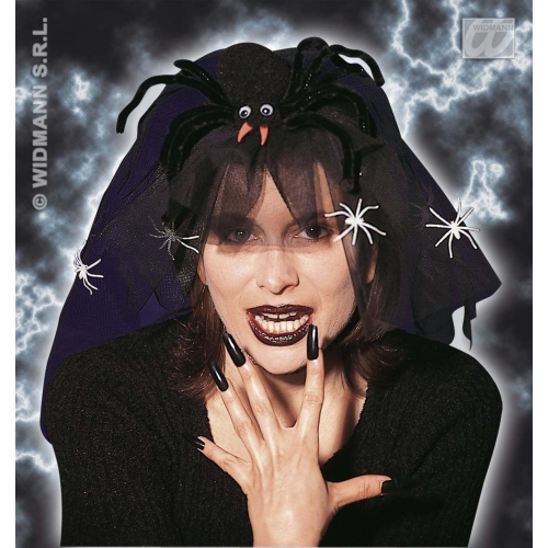 HALLOWEEN HEADPIECE GID W/SPIDER/VEIL Accessory for Trick Or Treat Fancy Dress