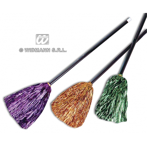 WITCH BROOM METALLIC 92cm 1 of 3 colours Accessory for Halloween Oz Eastwick Fancy Dress