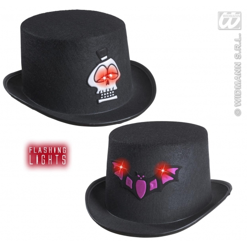 FELT FLASHING HALL.TOP HAT 1 of 2 styles Accessory for Fancy Dress