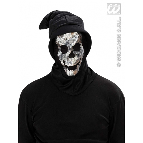 SEQUIN SKULL HOODED MASK Accessory for Skeletal Head Skeleton Halloween Pirate Fancy Dress