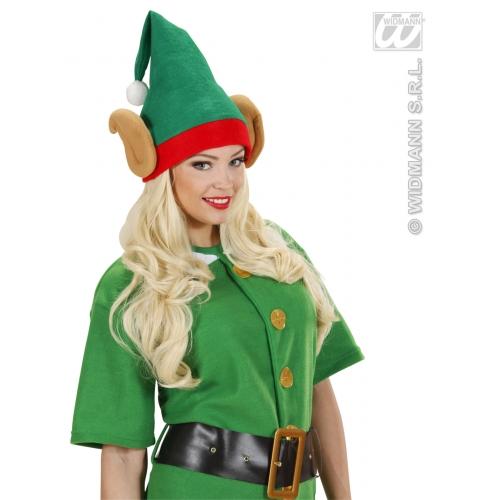SANTAS LITTLE HELPER ELF HAT W/EARS Accessory for Father Christmas Fancy Dress