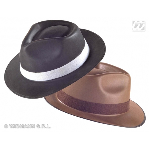 BORSALINO HAT EVA BLACK/BROWN Accessory for Gangster 20s 30s Mob Al Fancy Dress