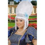 MARQUISE WIG W/WHITE PEARLS FLOWER BLUE BOW Accessory for Regency Court Princess Queen Fancy Dress