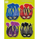 LIDO FEATHER MASK 1 of 4 colours Accessory for Fancy Dress