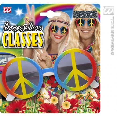 MULTICOLOUR LOVE & PEACE GLASSES Accessory for Hippie 60s 70s Mod Retro Vintage Classic Fancy Dress