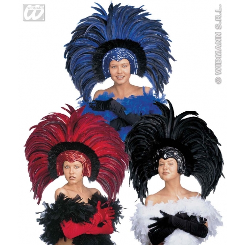 FEATHERED BRAZIL HEADDRESS red blue or black Hat Accessory for Fancy Dress