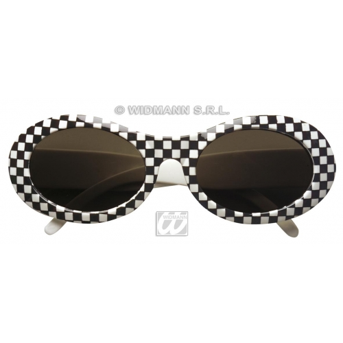 GLASSES 60s CHEQUERED Accessory for 60s Rock n Roll Fancy Dress