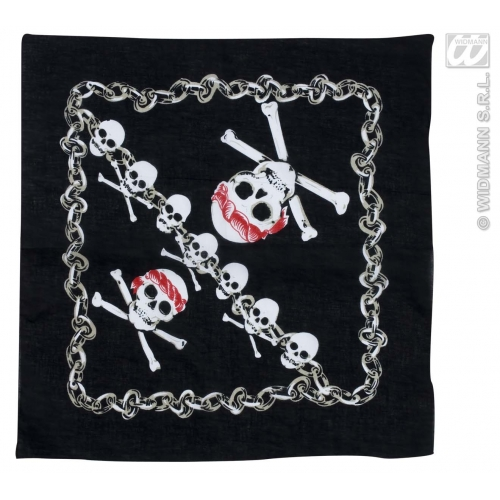 BANDANA BLACK W/PIRATE SKULL 55x55 cm Hat Accessory for Pirate Biker Redneck Fancy Dress