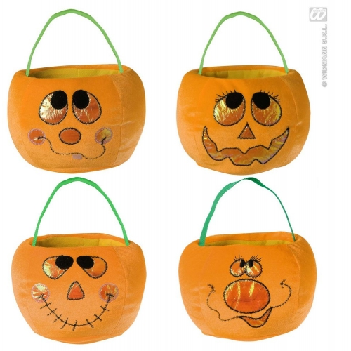 VELVETY PUMPKIN HANDBAGS 1 of 4 styles Accessory for Halloween Trick Or Treat Fancy Dress