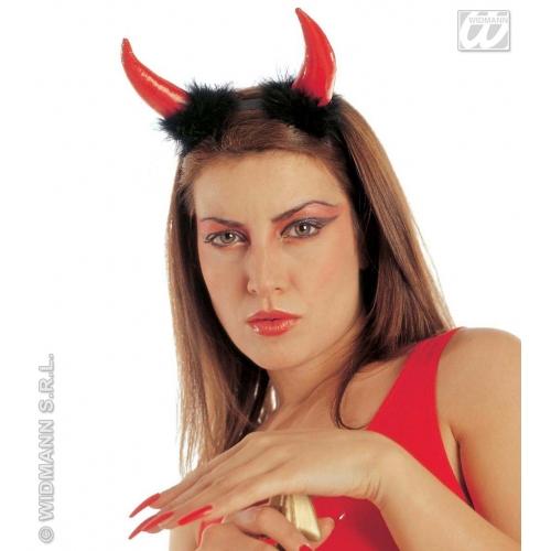 DEVIL HORNS VINYL/MARABOU Accessory for Satan Lucifer Demon Antichrist Halloween Fancy Dress
