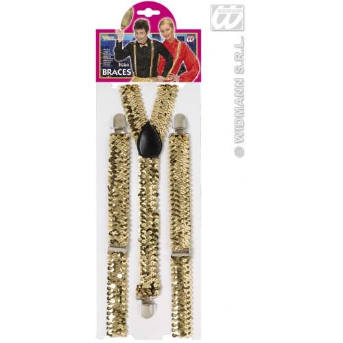Gold SEQUIN BRACES Accessory for 80s 70s 60s 50s Punk Pop Disco Fancy Dress