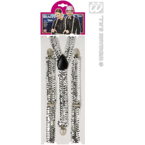 Silver SEQUIN BRACES Accessory for 80s 70s 60s 50s Punk Pop Disco Fancy Dress