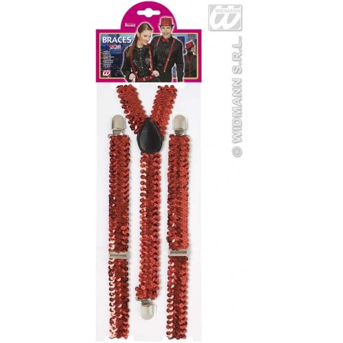 RED SEQUIN BRACES Accessory for 80s 70s 60s 50s Punk Pop Disco Fancy Dress