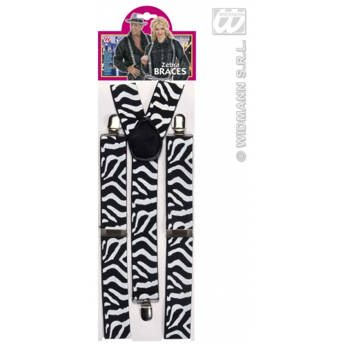 BLACK WHITE ZEBRA BRACES Accessory for African Striped Donkey Animal Fancy Dress