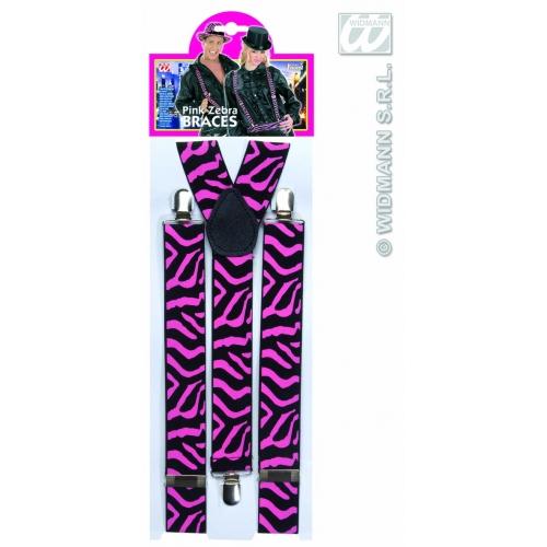 BRACES ZEBRA BLACK/PINK Accessory for 80s 70s 60s 50s Punk Pop Disco Fancy Dress