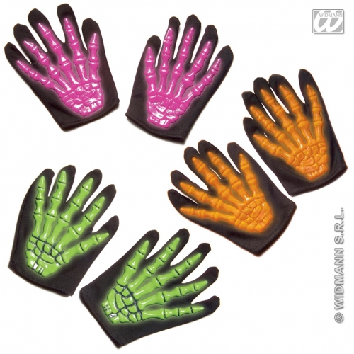 Child Unisex SKELETON GLOVES 3D NEON SIZE 1 of 3 colours Accessory for Living Dead Halloween Skull Pirates Fancy Dress 1Size Unisex Kids Girls