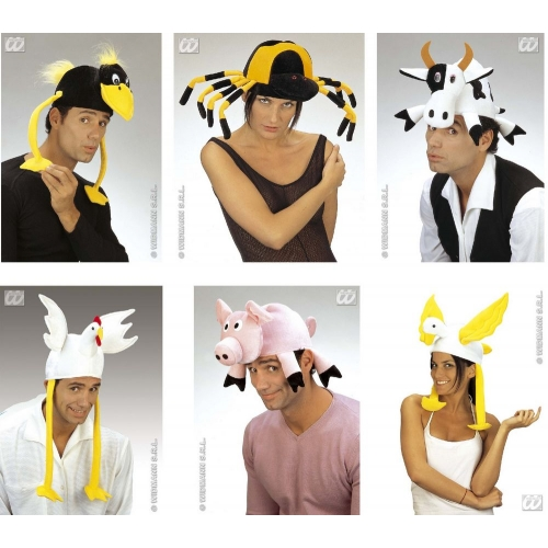 1 ANIMAL VELVET HAT (cow/pig/chick/duck/crow/spider) Accessory for Creature Nature Zoo Farm Fancy Dress