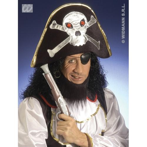VELVET PIRATE HAT W/MAXI SKULL Accessory for Buccaneer Sailor Jack Blackbeard Fancy Dress