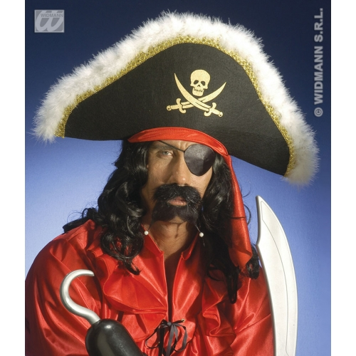DELUXE PIRATE HAT W/GOLD TRIM AND MARABOU Accessory for Buccaneer Sailor Jack Blackbeard Fancy Dress