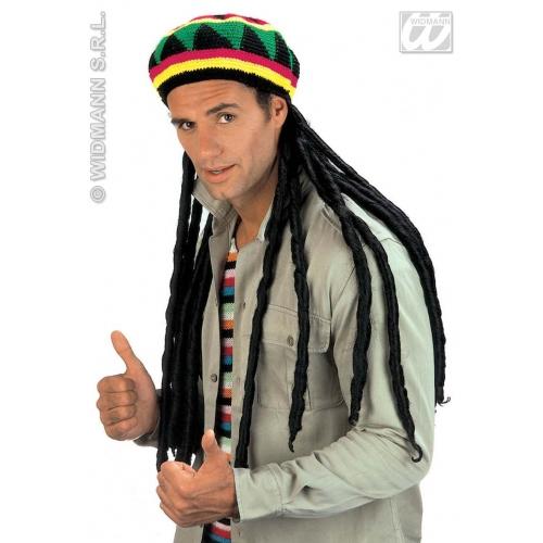 RASTA TAM W EXTRA LONG DREADLOCKS Accessory for Rastafarian Jamaican Tropical Fancy Dress
