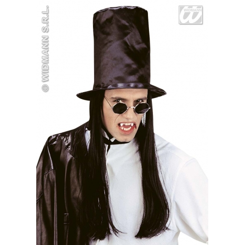 VAMPIRE TOP HAT WITH HAIR Accessory for Dracula Vamp Halloween Fancy Dress