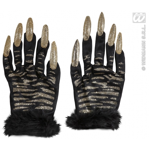 Adult Unisex TIGER GLOVES WITH GOLD GLITTER NAILS Accessory for Indian Jungle Animal Cat Feline Fancy Dress 1Size Unisex Mens