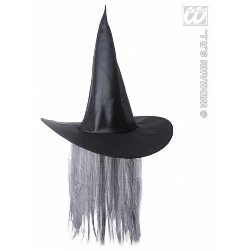 WITCH HAT SATIN WITH HAIR Accessory for Halloween Oz Eastwick Fancy Dress