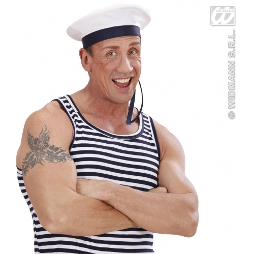 SAILOR HAT WITH RIBBONS Accessory for Navy Crew Military Seaman Fancy Dress