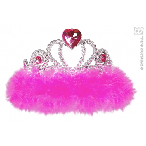 PINK MARABOU Ladies NIGHT OUT TIARA Hat Accessory for Princess Fairy Queen Fancy