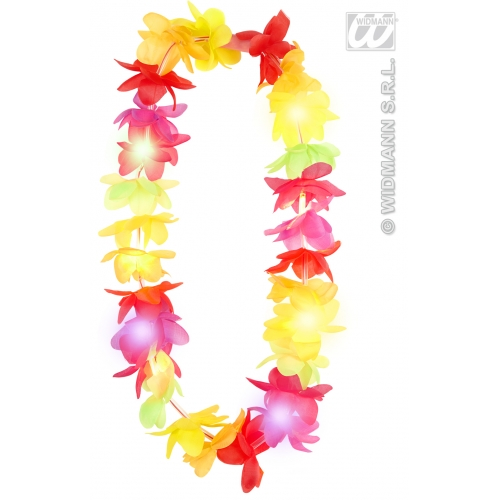 FLASHING LIGHT MULTICOLOUR HAWAIIAN LEIS Accessory for Hawaii Tropical Beach Magnum Five O Fancy Dress Party