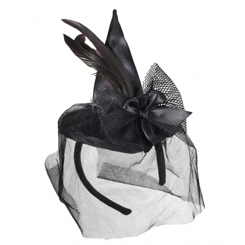 FEATHERS AND VEIL MINI WITCH HAT Accessory for Halloween Oz Eastwick Fancy Dress