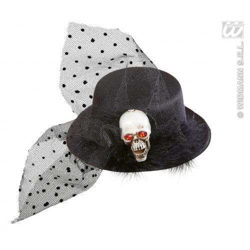 SKULL MINI TOP HAT Accessory for Skeletal Head Skeleton Halloween Pirate Fancy Dress