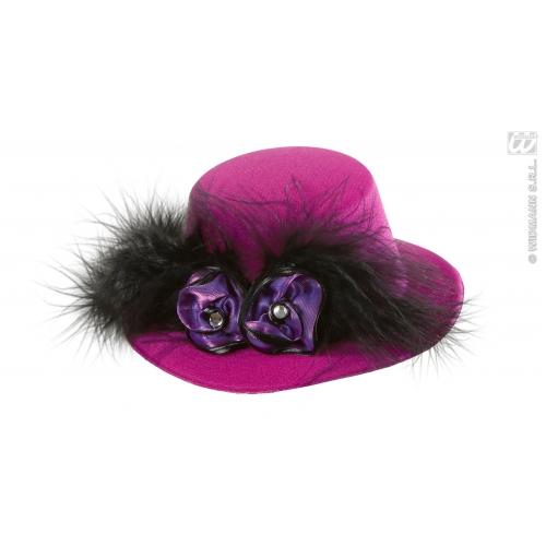 PINK W/ PURPLE ROSES BLACK MINI TOP HAT Accessory for Fancy Dress