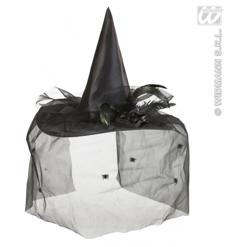 WITCH HAT W/TULLE FLOWER & FEATHERS Accessory for Halloween Oz Eastwick Fancy Dress