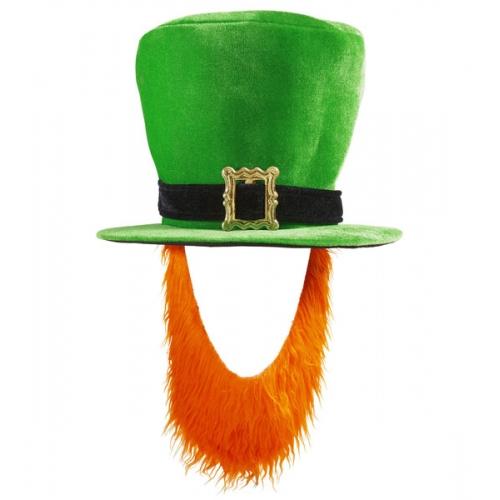 GREEN W/RED BEARD IRISH TOPPER HAT Accessory for St Patricks Days Ireland Fancy Dress