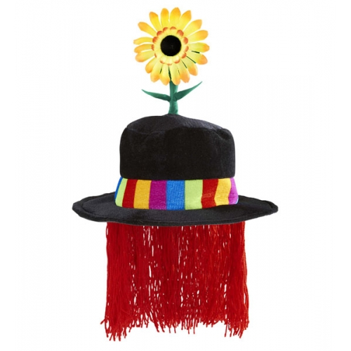 VELVET CLOWN HAT W/ SUNFLOWER & HAIR Accessory for Circus FunFair Parade Fancy Dress