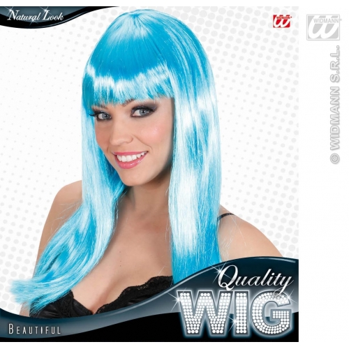 AZURE 90s LONG FRINGE BEAUTIFUL WIG Accessory for 90s Brit Pop Retro Fancy Dress