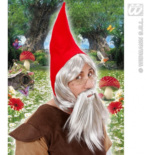 GNOME HAT RED WITH WIG BEARD GREY Accessory for Garden Elf Dwarf Orc Goblin Fancy Dress