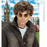 BROWN 90S BAND BEAT WIG Accessory for 90s Brit Pop Retro Fancy Dress