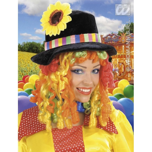 BLACK CLOWN HAT W CURLY HAIR MULTI Accessory for Circus FunFair Parade Fancy Dress